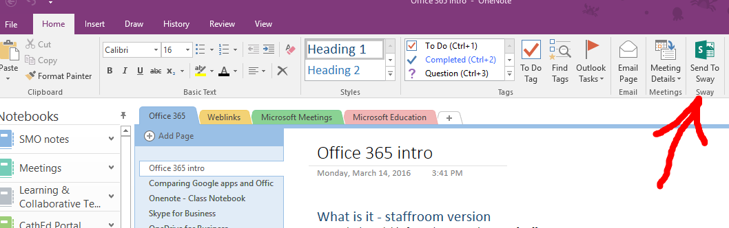OneNote send to sway installed