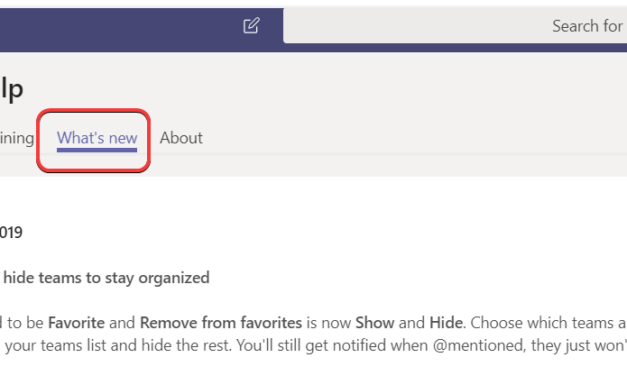 Teams – How to keep up with what's new in Microsoft Teams