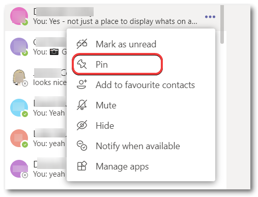 Microsoft Teams how to pin a chat message