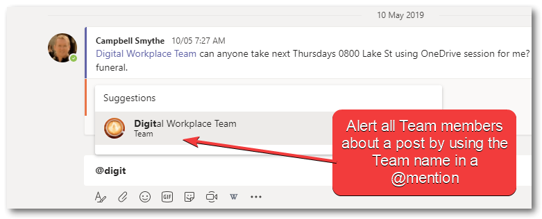 team mention in converation to create a notification
