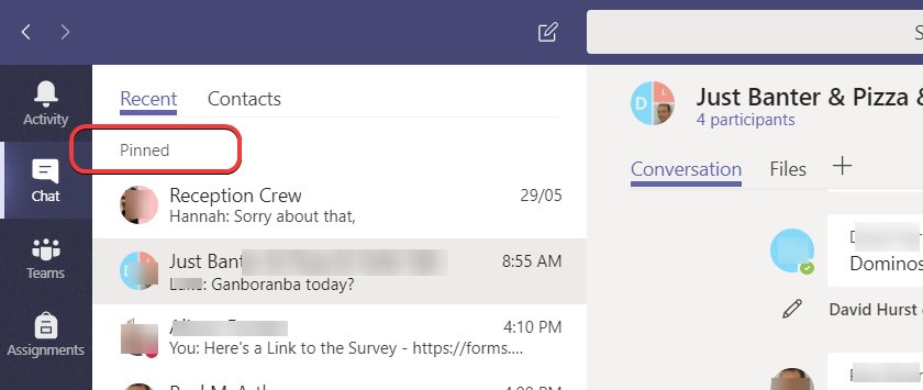 Microsoft Teams – Pin a Chat for quicker access